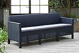 Набір садових меблів Orlando 3 Seater Set Graphite ( графіт ) з штучного ротанга ( Allibert by Keter ), фото 6