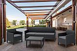 Набор садовой мебели Orlando 3 Seater Set Graphite ( графит ) из искусственного ротанга ( Allibert by Keter ), фото 9