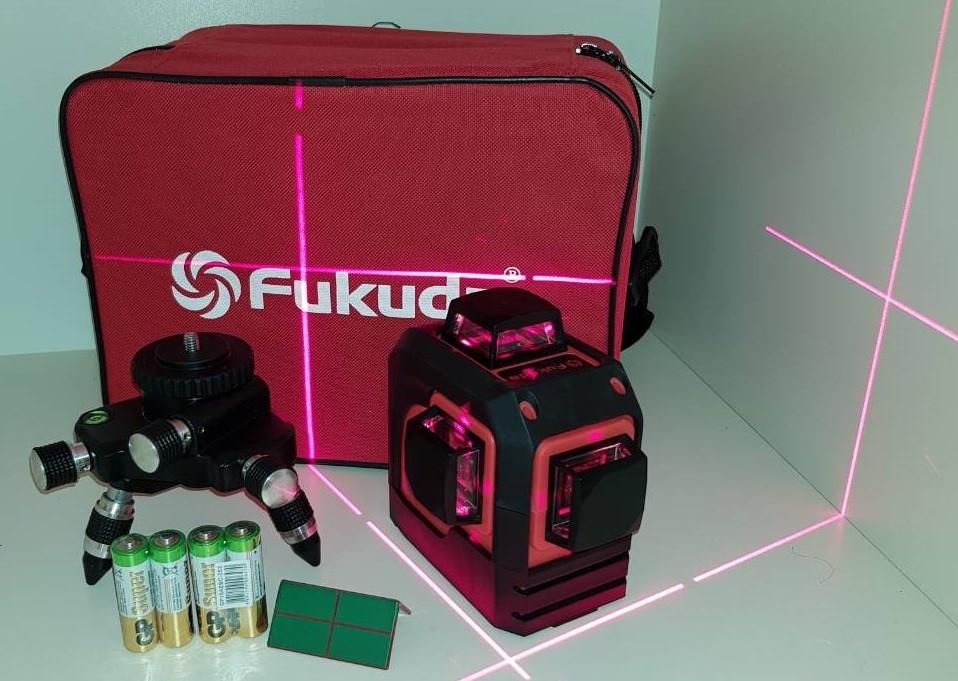 Лазерный нивелир FUKUDA 3D  (3*360)+противоударный кейс+триножка с микролифтами