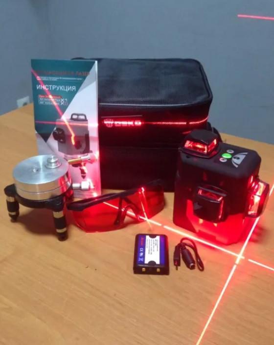 Лазерный 3D уровень Deko HV-LL12 (лазерний рівень), 2 li-ion батареи+ОТКАЛИБРОВАН ИДЕАЛЬНО