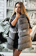 Меховая шуба жилетка Нонна искусственный эко - мех лисы XL, фото 1