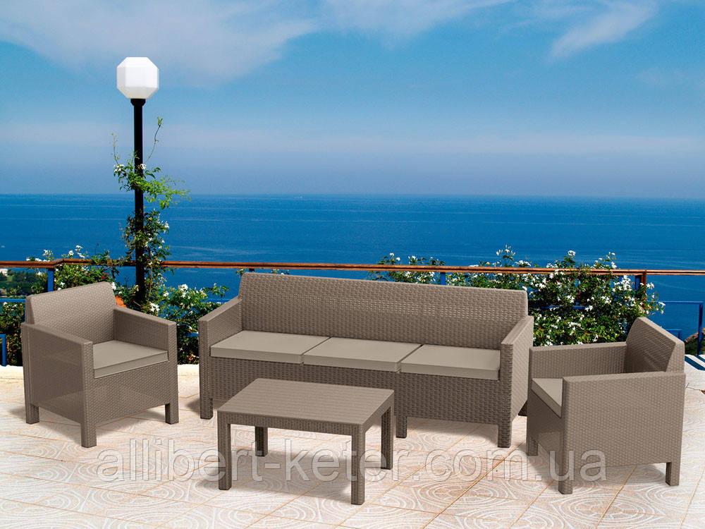 Набор садовой мебели Orlando 3 Seater Set Cappuccino ( капучино ) из искусственного ротанга