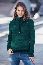 Теплый вязаный свитер с карманом Кенгуру