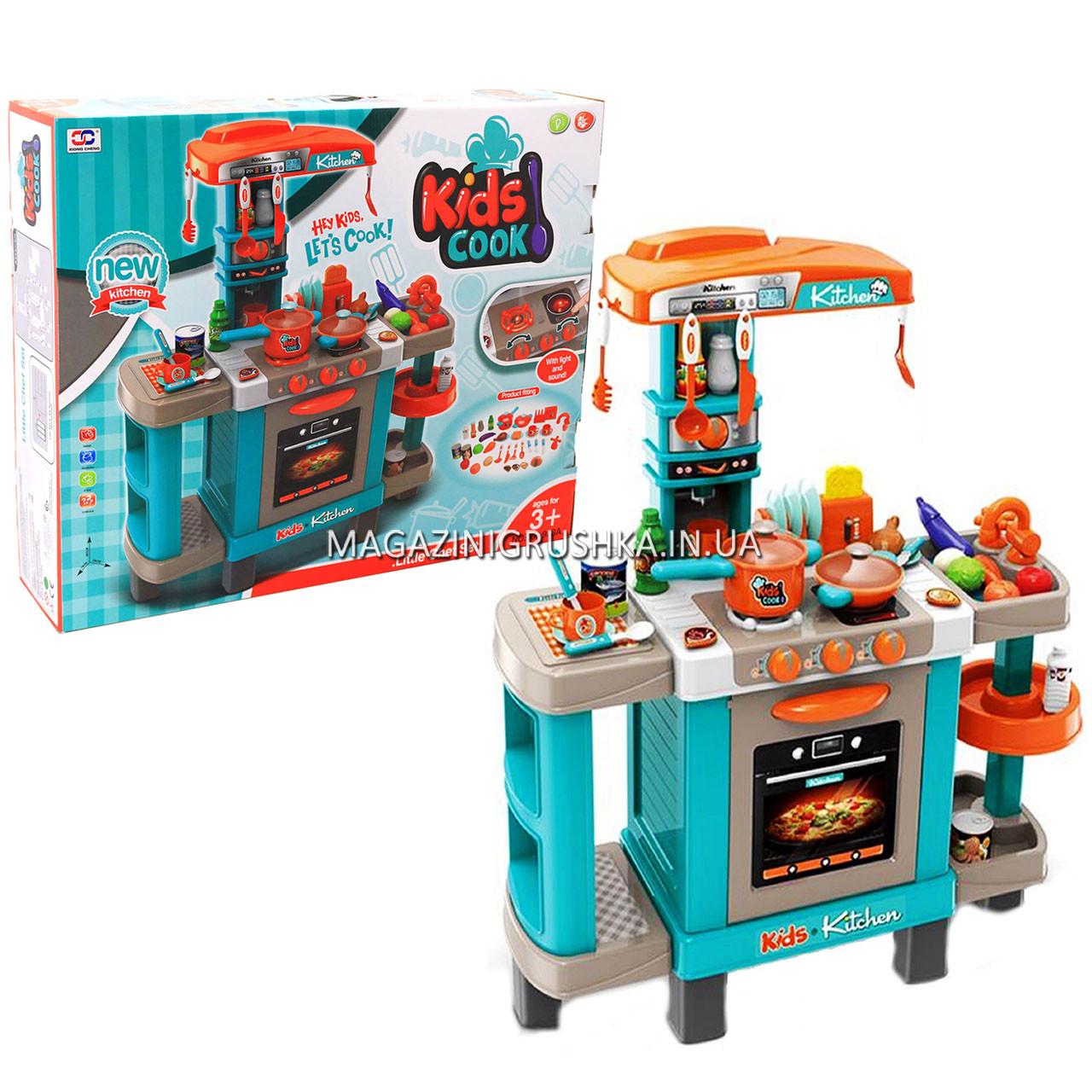 Кухня детская игровая интерактивная с микроволновкой, кофемашиной, тостером (свет, звук) 78х29х87 см (008-938)