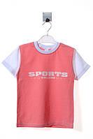 Яркая спортивная футболка с надписью для девочки. Состав 96% хлопок, 4% эластан. Цвет розовый. Бренд Bittos.