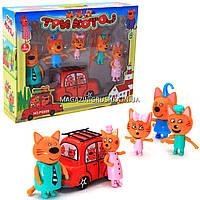 Детский игровой набор фигурок «Три кота едут на пикник», машинка, 5 фигурок (PS659)