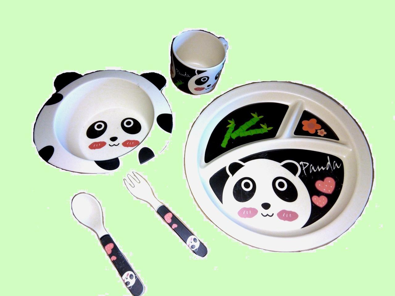 """Детская посуда для кормления из бамбука """"Панда"""""""