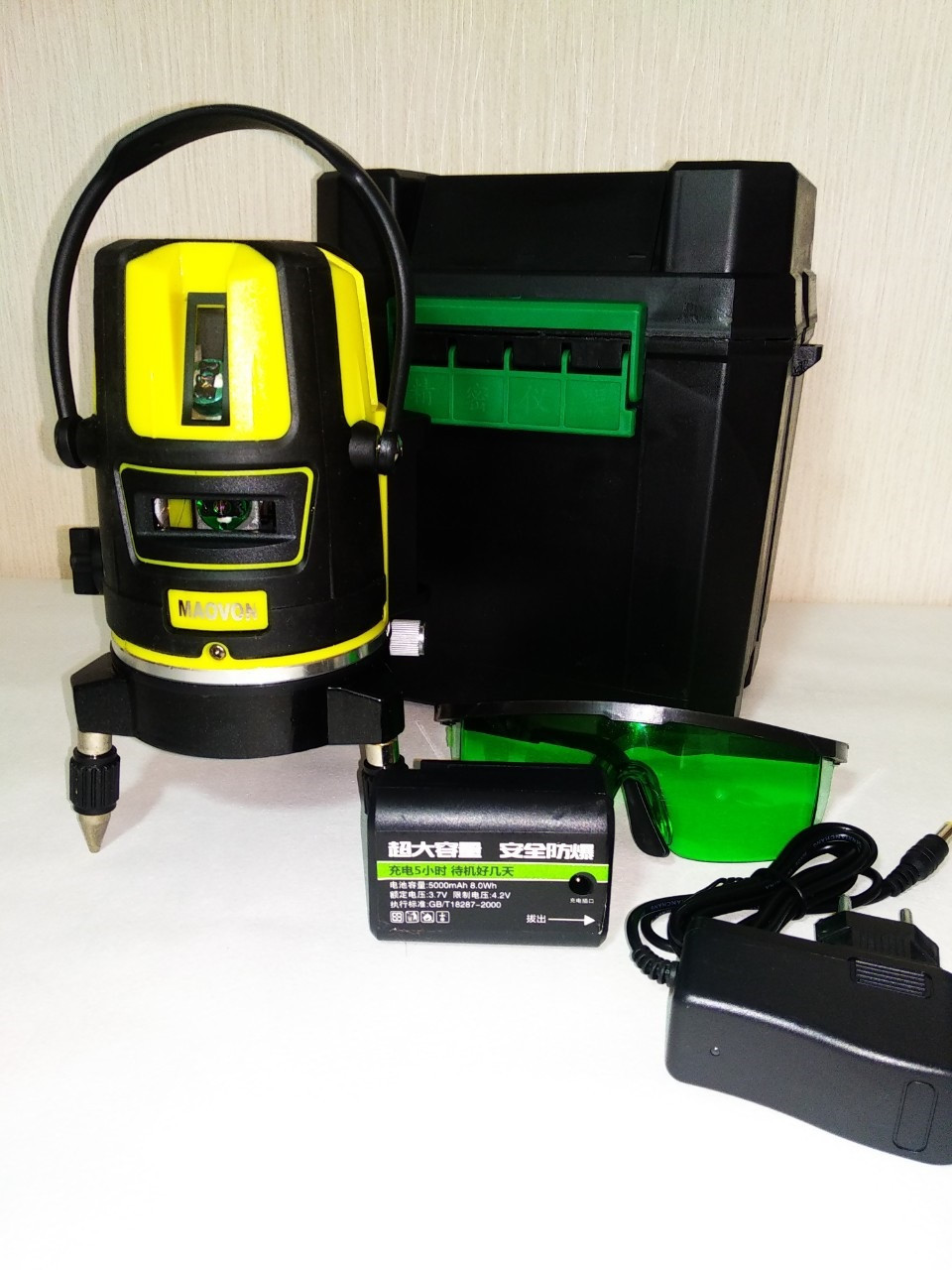 NEW 19-Лазерный уровень MAOVON 5 линий зеленый луч-5000mA Li-ion аккумулятор