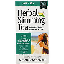 """Травяной чай для похудения, 21st Century """"Herbal Slimming Tea"""" с зеленым чаем, без кофеина, 24 пакетика (48 г)"""