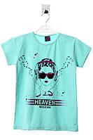 Прикольная стильная футболка для девочки. Есть принт. Состав 95% хлопок, 5% эластан. Цвет мятный. Бренд Eson.