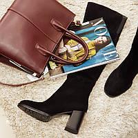Ботфорти чоботи жіночі зимові з натурального замша і натурального хутра на підборах чорні