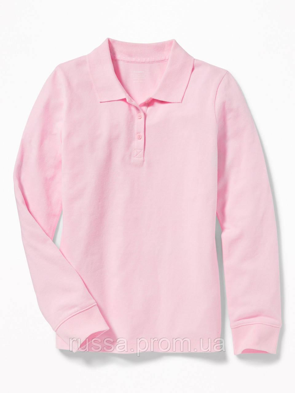 Детское розовое поло с длинным рукавом Old Navy для девочки