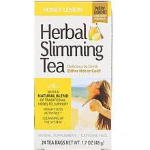 """Травяной чай для похудения, 21st Century """"Herbal Slimming Tea"""" мед с лимоном, без кофеина, 24 пакетика (48 г)"""