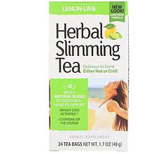 "Травяной чай для похудения, 21st Century ""Herbal Slimming Tea"" лимон-лайм, без кофеина, 24 пакетика (48 г)"