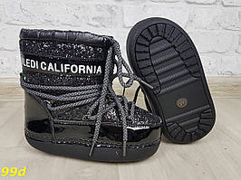 Детские зимние мунбутсы луноходы Moon boots черные с эффектом битого стекла Калифорния 29-35