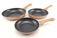 Набір сковорідок з мармуровим покриттям A-Plus 1741, 3 шт, фото 1