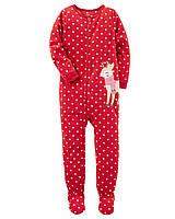 Детский флисовый новогодний красный комбинезон (слип) Carters Картерс для девочки