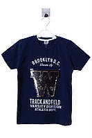 Прикольная футболка для мальчика с принтом из пайеток. Состав 100% хлопок. Цвет темно - синий. Бренд Onem.
