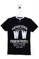 Модная футболка для мальчика с прикольным принтом из пайеток. Состав 100% хлопок. Цвет черный. Бренд Onem.