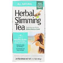 """Травяной чай для похудения, 21st Century """"Herbal Slimming Tea"""" натуральный, без кофеина, 24 пакетика (48 г)"""