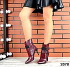 Демисезонные женские ботильоны цвета марсала, натуральная кожа, фото 2