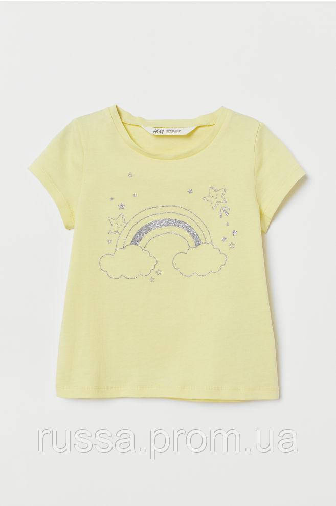 Светлая качественная футболочка с радугой НМ для девочки