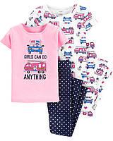 Набор детских пижам из 4-х вещей Спасательные машины Картерс для девочки