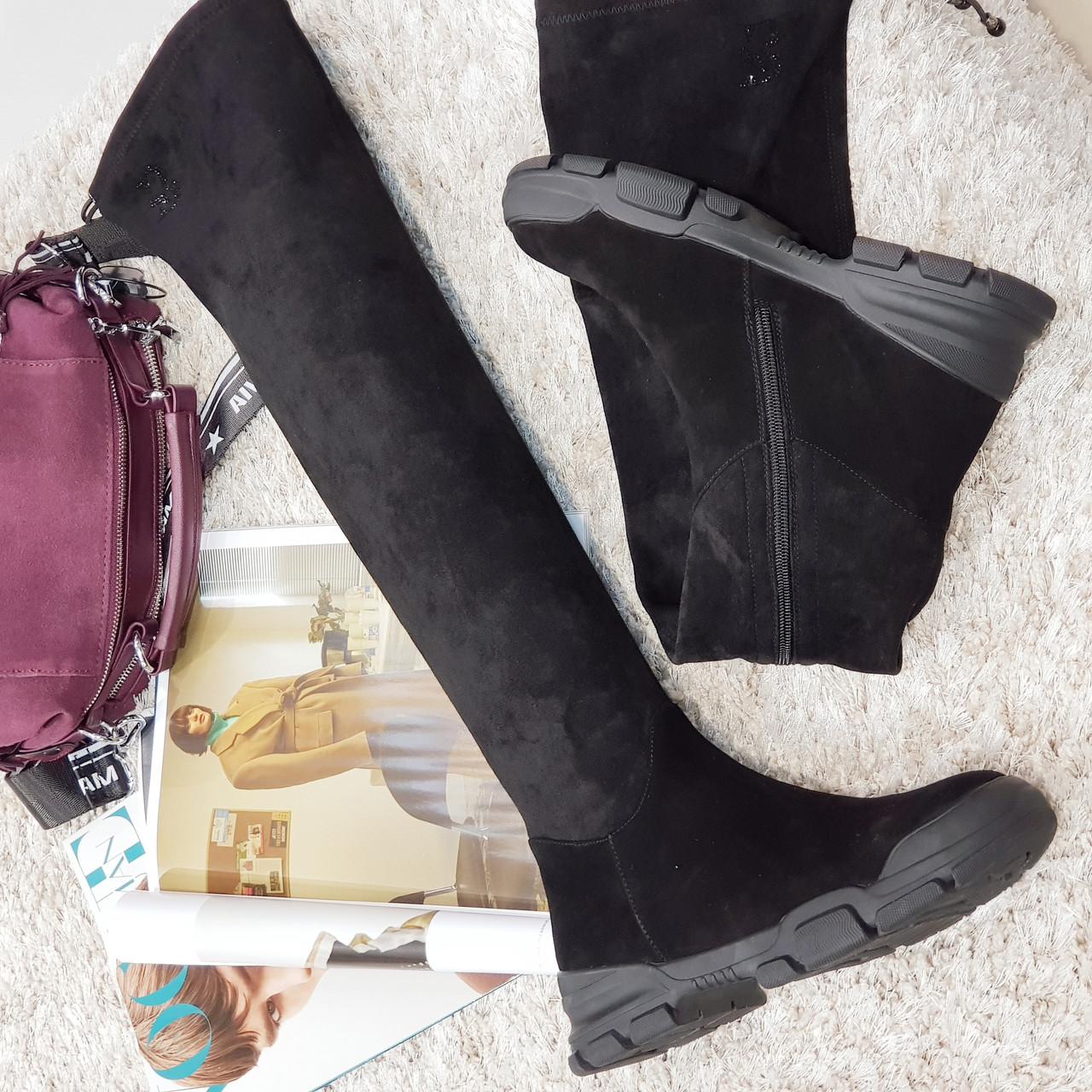 Сапоги женские зимние ,ботфорты черные замшевые на каблуке