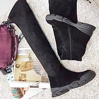 Сапоги женские зимние ,ботфорты черные замшевые на каблуке, фото 1