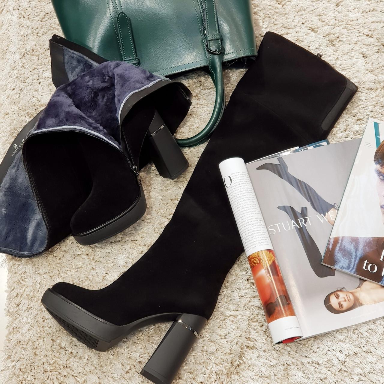 Ботфорты сапоги женские зимние из натуральной замши и натурального меха на каблуке черные