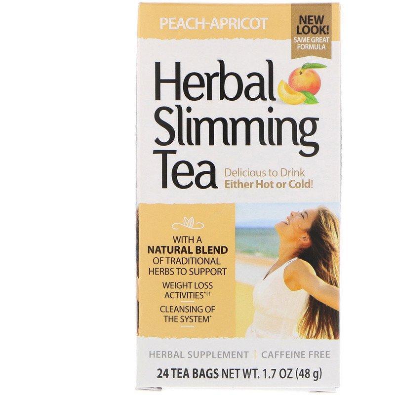 """Трав'яний чай для схуднення, 21st Century """"Herbal Slimming Tea"""" персик-абрикос, без кофеїну, 24 пакетики (48 м)"""