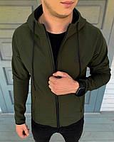 Мужская куртка Puma весенняя стильная с капюшоном  на флисовой основе, цвета хаки,  ТОП-реплика