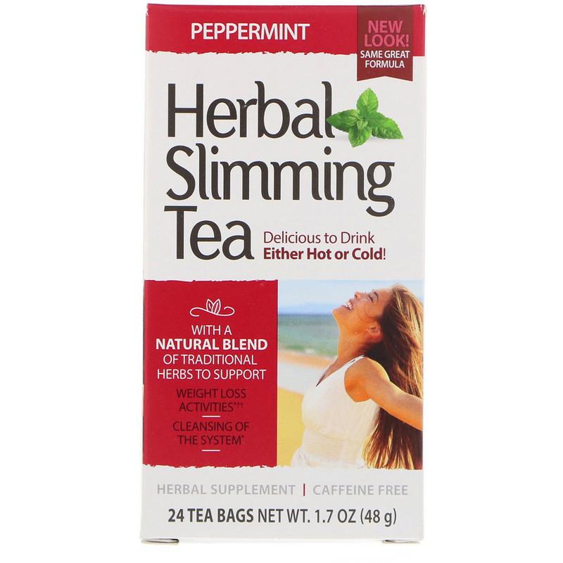 """Трав'яний чай для схуднення, 21st Century """"Herbal Slimming Tea"""" м'ята перцева, без кофеїну, 24 пакетики (48 м)"""