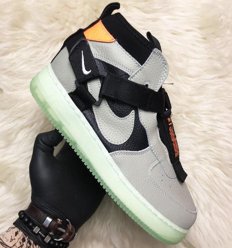 Кроссовки мужские Nike Air Force Night серые (Top replic)