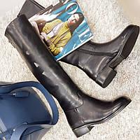 Ботфорти чоботи жіночі зимові з натуральної шкіри і натурального хутра на плоскій підошві чорні, фото 1