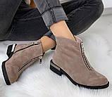 Ferre стильные женские демисезонные ботинки  натуральная замша змейка впереди красивый цвнт капучино, фото 2