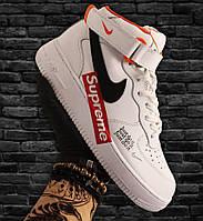 Кроссовки мужские Nike Air Force High Supreme белые-красные (Top replic)