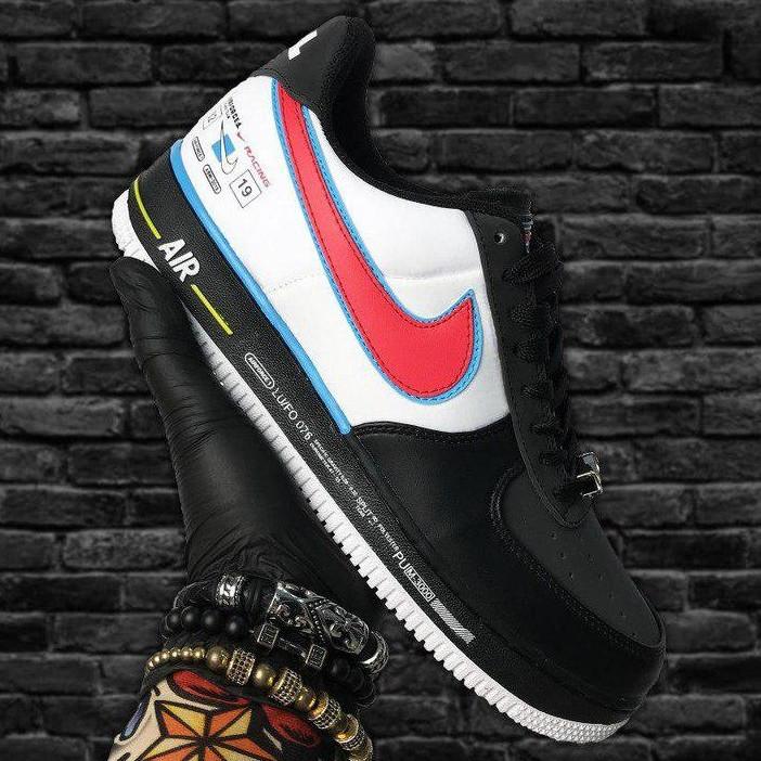 Кроссовки мужские Nike Air Force 1 Low черные-красные (Top replic)