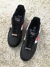 Кроссовки мужские Nike Air Force 1 Low черные-красные (Top replic), фото 2