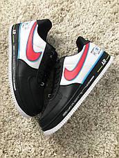 Кроссовки мужские Nike Air Force 1 Low черные-красные (Top replic), фото 3