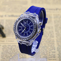 """Жіночі наручні годинники """"Geneva"""" з підсвічуванням (синій)"""