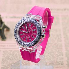 """Женские наручные часы """"Geneva"""" с подсветкой (малиновый, розовый)"""