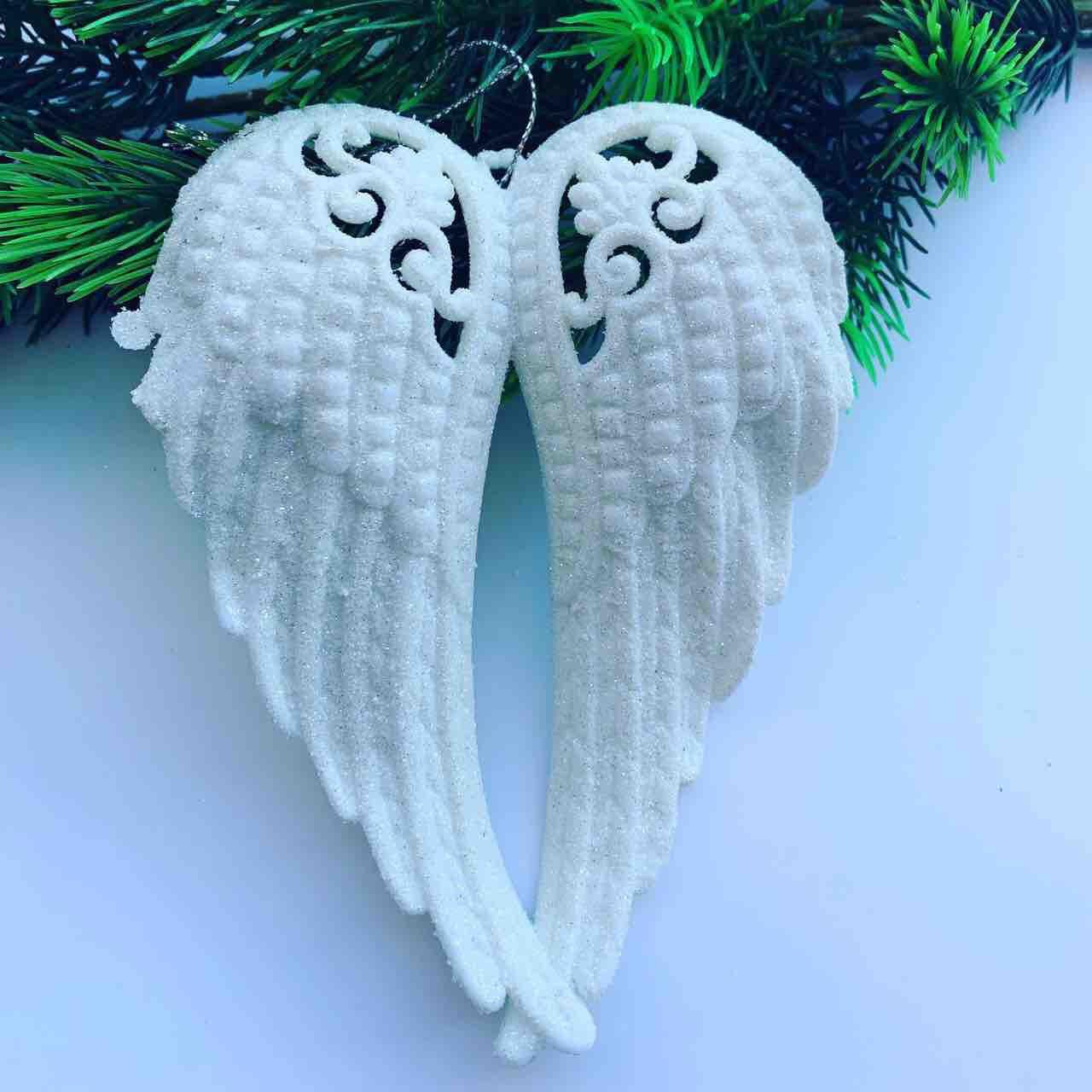 Новогоднее украшение.Елочное украшение-крылья ангела(белые).