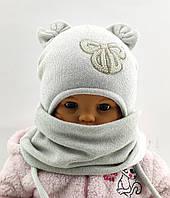 Оптом шапка детская с 48 по 52 размер хомутом ангора ушками шапки головные уборы детские опт, фото 1