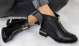 Ferre стильні жіночі демісезонні чоботи натуральна шкіра змійка попереду маленький квадратний каблук, фото 4