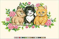 Схемы для вышивки крестом на канве А4-14-007 Три котенка