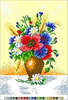 Схемы для вышивки крестом на канве А4-14-015 Букет цветов в вазе