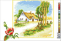 Схемы для вышивки крестом на канве А4-16-011 Домик в селе