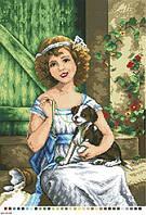 Схемы для вышивки крестом на канве А3-14-084 Девочка со щенком