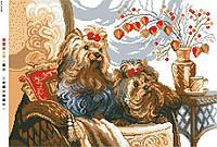 Схемы для вышивки крестом на канве А3-14-085 Пара собак на кресле